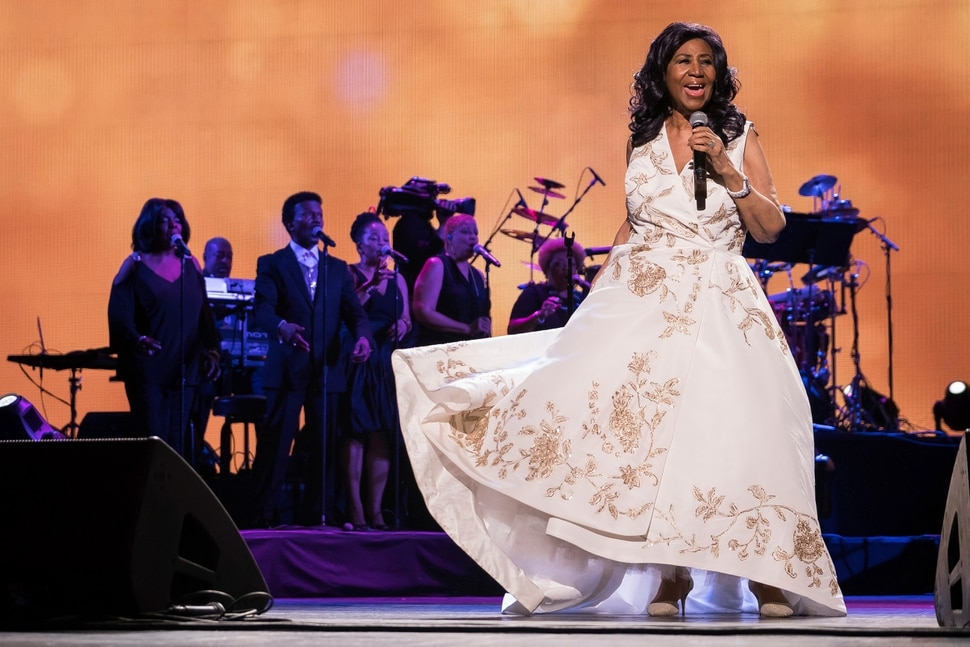 FILE - In this April 19, 2017, file photo, Aretha Franklin performs at the world premiere of Clive Davis: The Soundtrack of Our Lives at Radio City Music Hall, during the 2017 Tribeca Film Festival, in New York. Franklin died Thursday, Aug. 16, 2018, at her home in Detroit. She was 76. (Photo by Charles Sykes/Invision/AP, File)