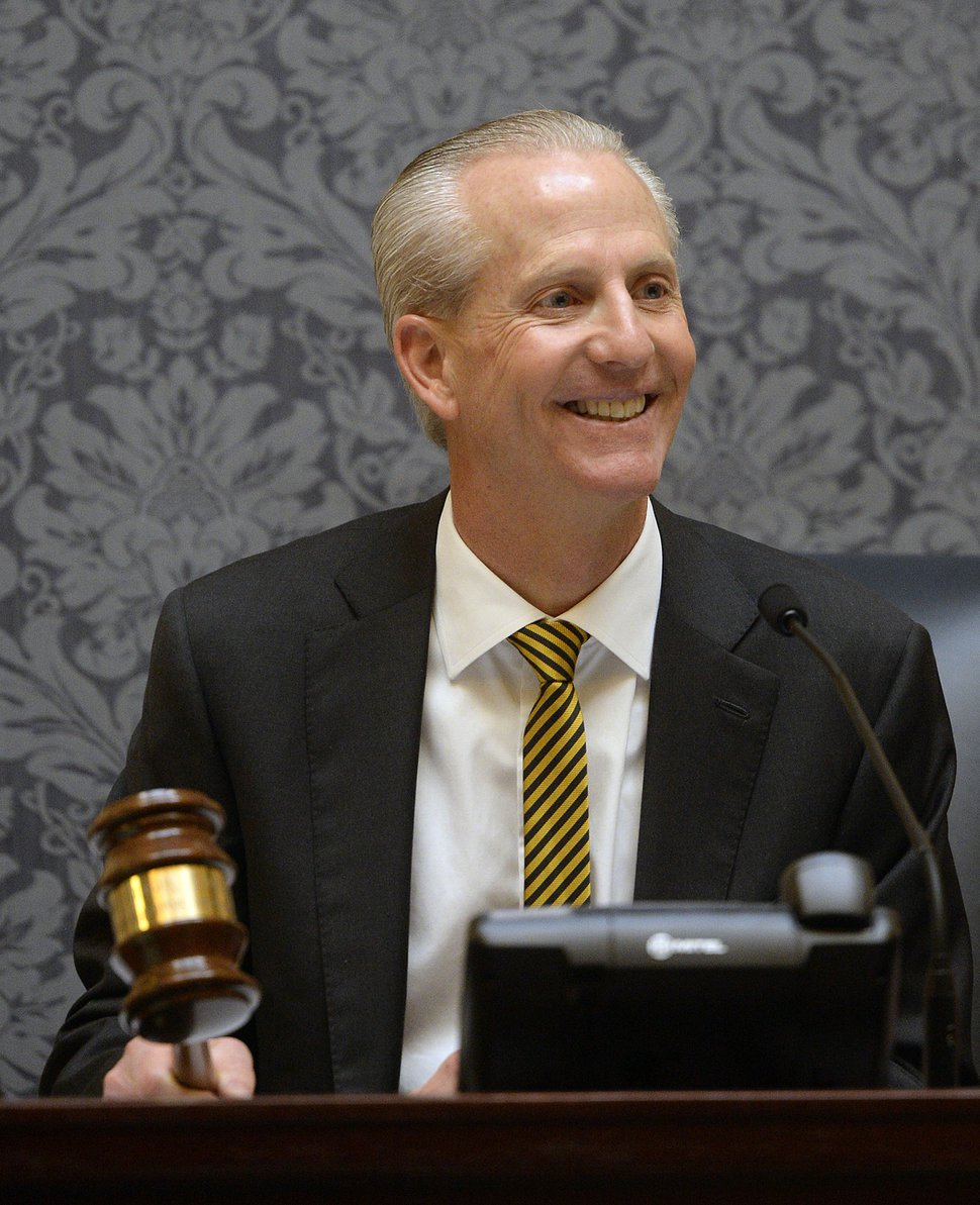 Al Hartmann | The Salt Lake Tribune Senate President Wayne L. Niederhauser smiles at members before banging the gavel to open the 2016 session of the Utah Legislature Monday Jan. 25.