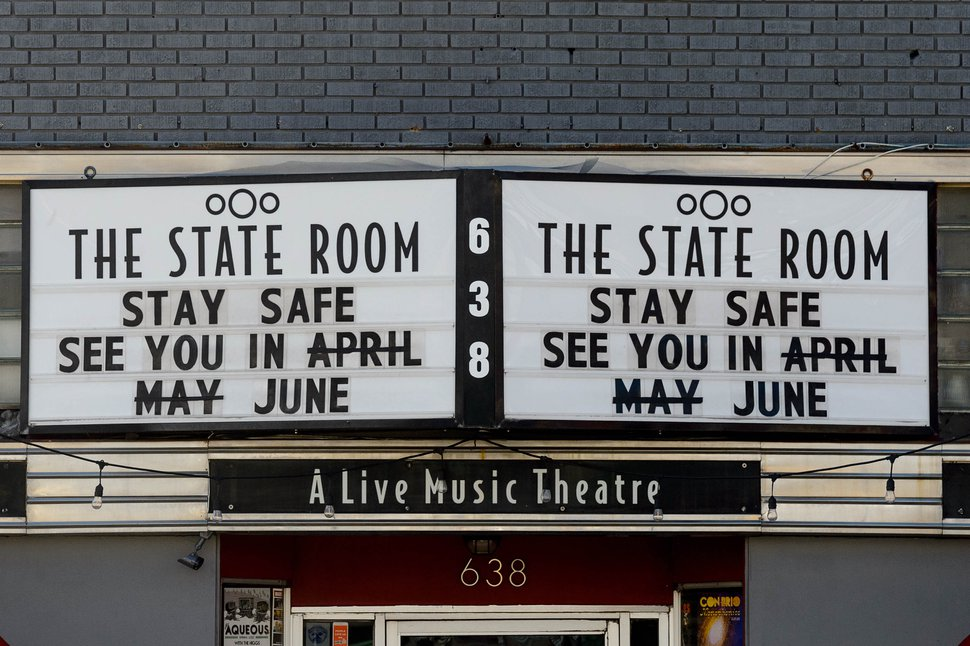 (Trent Nelson | The Salt Lake Tribune) The marquee at The State Room in Salt Lake City on Tuesday, April 21, 2020.