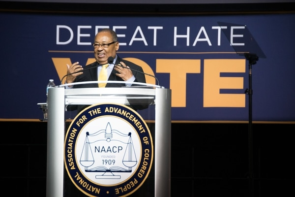 Leon W. Russell, chairman of the NAACP board of directors, spoke at Sunday's mass meeting and introduced LDS general authority Jack N. Gerard, July 15, 2018.