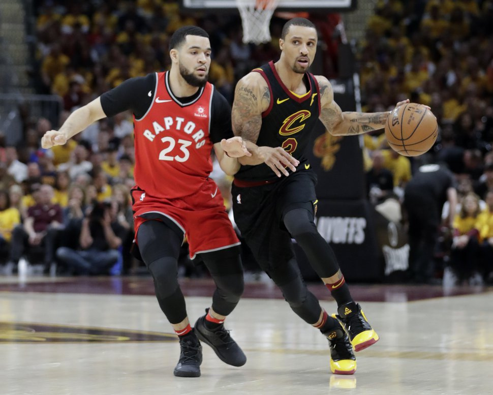 Cleveland Cavaliers' George Hill (3) drives on Toronto Raptors' Fred VanVleet (23) in the first half of Game 4 of an NBA basketball second-round playoff series, Monday, May 7, 2018, in Cleveland. (AP Photo/Tony Dejak)