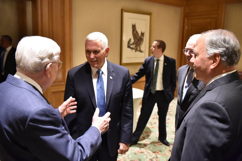 (Photo courtesy of The Church of Jesus Christ of Latter-day Saints) Apostles M. Russell Ballard. left, and Ronald A. Rasband, right, along with general authority Seventy Jack N. Gerard, second from right, meet with U.S. Vice President Mike Pence in Salt Lake City on Thursday, Aug. 22, 2019.