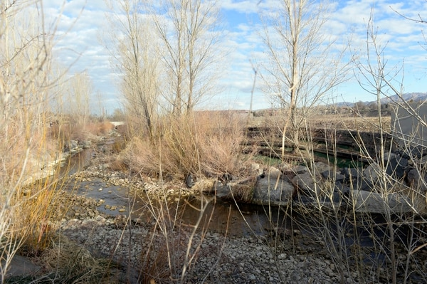 (Al Hartmann | The Salt Lake Tribune) Big Cottonwood Creek runs along the south and west sides of of the old Cottonwood Mall site near 4800 S. Highland Drive in Holladay.