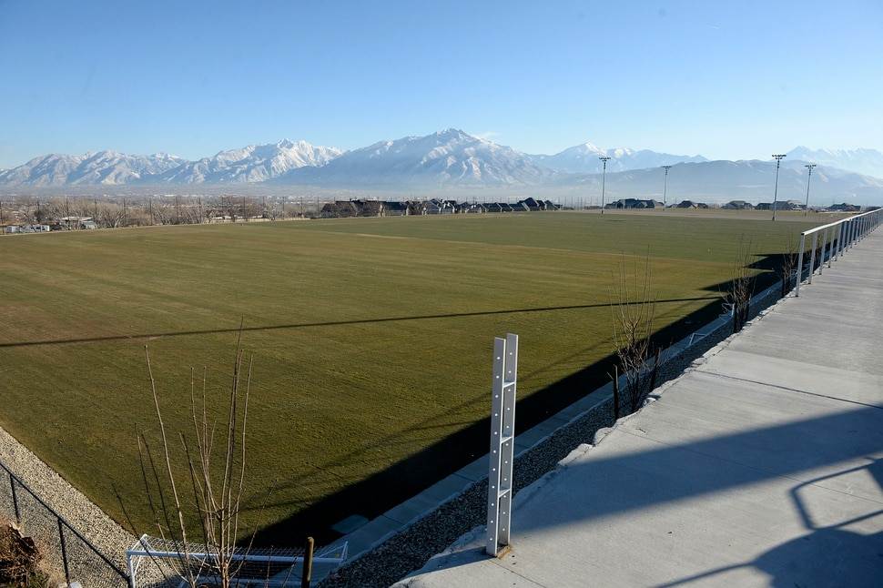 (Al Hartmann | The Salt Lake Tribune) Five side by side soccer practice fields are part of the RSL Academy charter school's complex which includes the school, these practice fields, an indoor soccer arena, outside stadium and student dormitory.