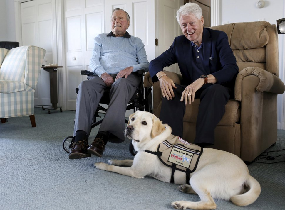 Former Republican President George H.W. Bush, left, and former President Bill Clinton, visiting Bush, pose for a photo with Sully, a yellow Labrador retriever who'll be Bush's first service dog at his home in Kennebunkport, Maine, Monday, June 25, 2018. The 94-year-old and his new companion got acquainted Monday at the Bush family compound on the coast of Maine. (Evan F. Sisley/Office of George Bush via AP)