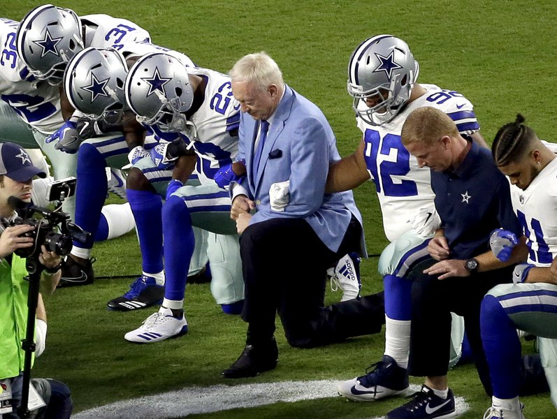 3512ac6cb9a5 Jerry Jones  Cowboys must stand at attention for anthem (even Jones took a  knee before a game last season)
