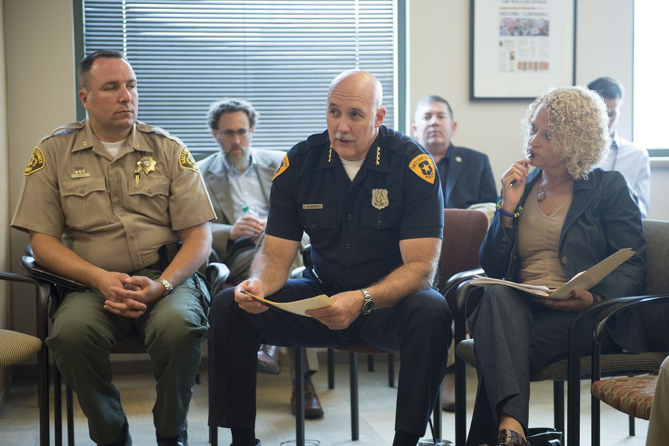 (Jeremy Harmon | Tribune file photo) Salt Lake City Police Chief Mike Brown, center, discusses