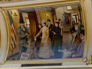 (Francisco Kjolseth  |  The Salt Lake Tribune) Depicting women gaining the right to vote in the Utah Territory in 1870, the Seraph Young Votes mural is seen above the House Chamber at the Utah Capitol on Tuesday, Feb. 4, 2020.