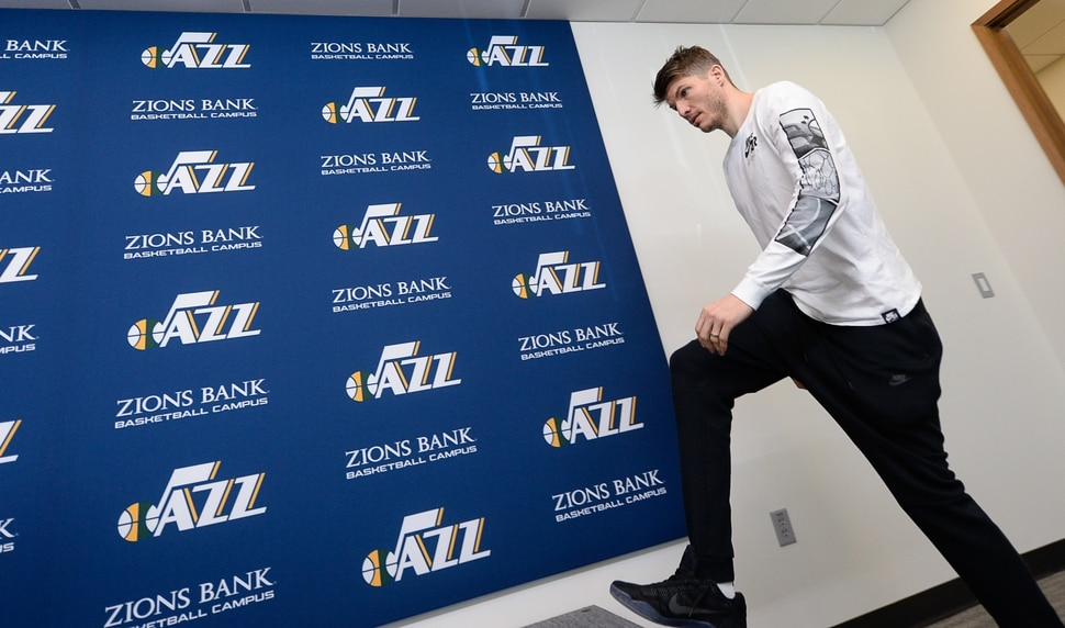 (Francisco Kjolseth | The Salt Lake Tribune) Kyle Korver of the Utah Jazz gets ready to speak with the media following their season-ending game at the team practice facility on Thursday, April 25. 2019.