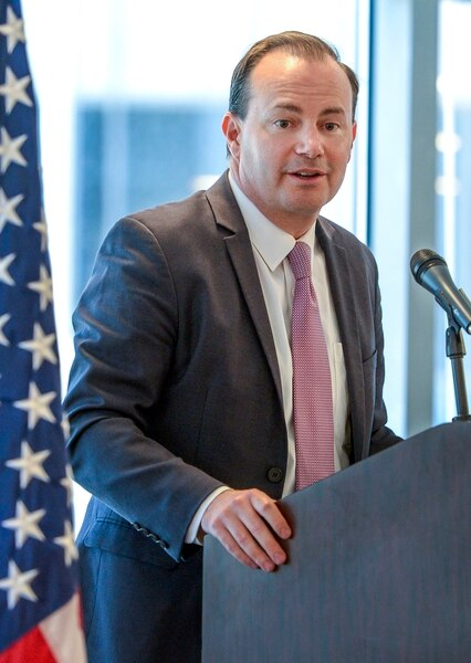 Leah Hogsten | The Salt Lake Tribune Our long-term goal must be the transfer of federal lands to the states, said Sen. Mike Lee, at a Utah public lands forum hosted by the Sutherland Institute, June 29, 2018.