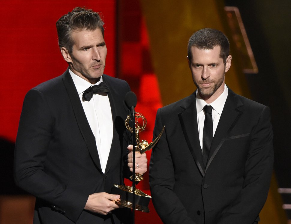 (File photo by Chris Pizzello, Invision, via Associated Press) Creator-showrunners David Benioff, left, and D.B. Weiss accept the award for outstanding writing for a drama series for