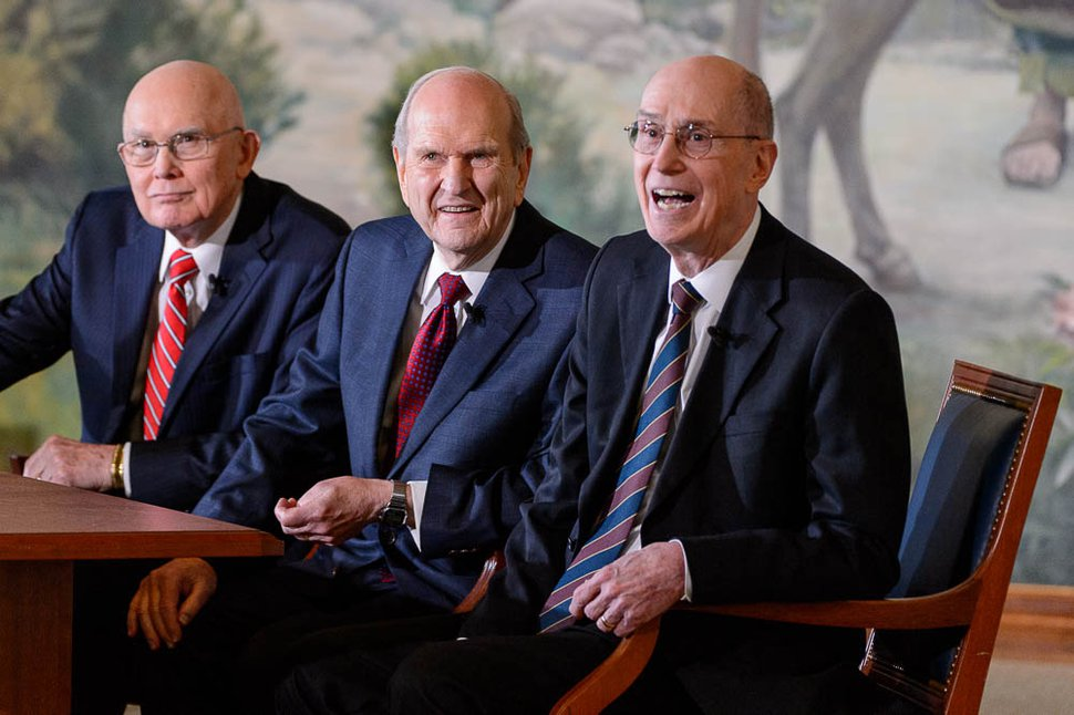 (Trent Nelson | The Salt Lake Tribune) Dallin H. Oaks, Russell M. Nelson and Henry B. Eyring at a news conference in the lobby of the Church Office Building in Salt Lake City, Tuesday. Jan. 16, 2018. Nelson was named the 17th president of the 16 million-member Church of Jesus Christ of Latter-day Saints. Oaks was named first counselor in the First Presidency and Eyring second counselor.