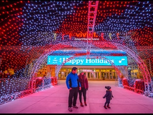 (Trent Nelson  |  The Salt Lake Tribune) Jethro, Makalah, and Gabriel Polidario stand under a tunnel of lights at Vivint Smart Home Arena in Salt Lake City on Wednesday, Dec. 2, 2020.