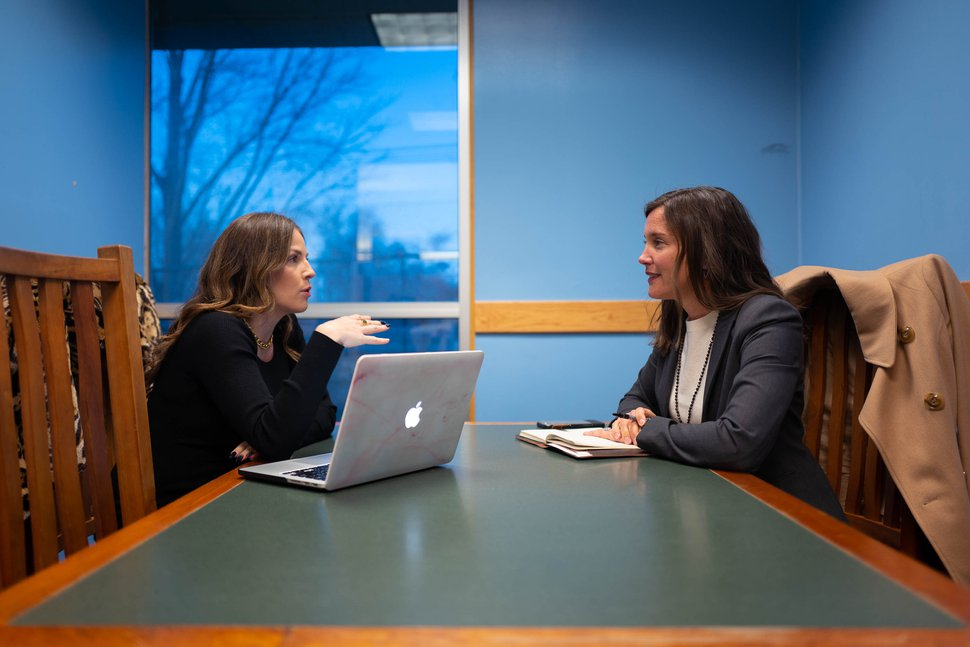 (Trent Nelson | The Salt Lake Tribune) Salt Lake City Mayor-elect Erin Mendenhall, right, meets with Jessica Cobabe during an