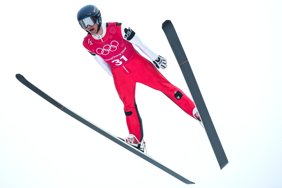 (Chris Detrick | The Salt Lake Tribune) USA's Bryan Fletcher competes in the Individual Gundersen Normal Hill/10km Official Training Jump at Alpensia Ski Jumping during the Pyeongchang 2018 Winter Olympics Sunday, February 11, 2018. Fletcher finished this jump in 24th place with a distance of 87.5 meters.
