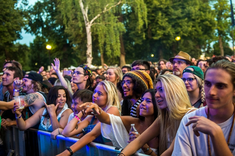 (Chris Detrick | The Salt Lake Tribune) Audience members watch as Little Dragon performs during the opening night of the 30th annual Salt Lake City Twilight Concert Series in Pioneer Park Thursday, July 20, 2017.