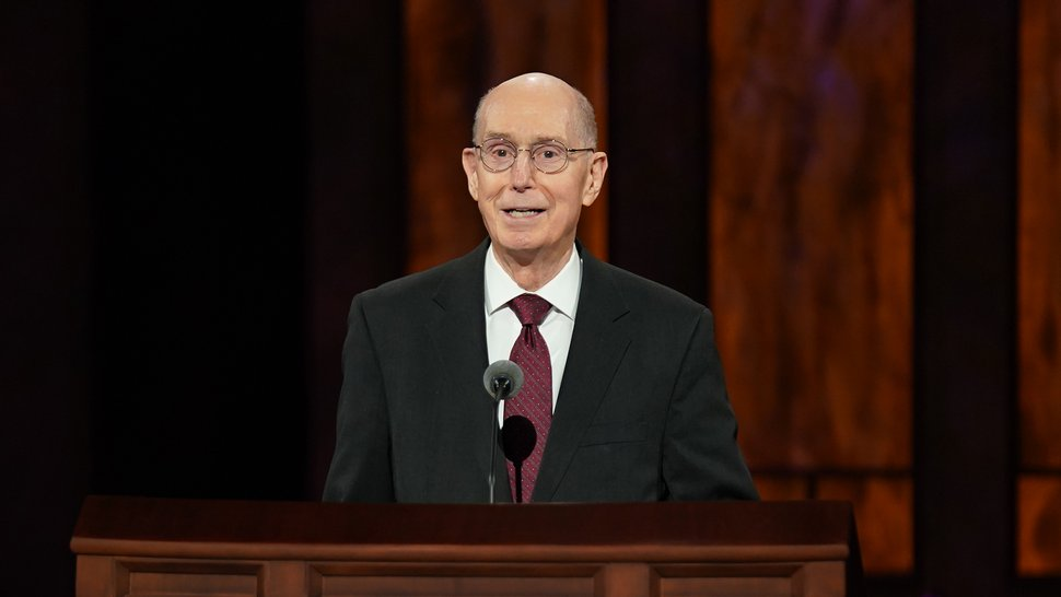 (Photo courtesy of The Church of Jesus Christ of Latter-day Saints) President Henry B. Eyring, second counselor in the First Presidency, talks to women across the world during the women's session on Saturday, Oct. 3, 2020.