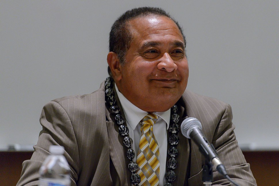 (Trent Nelson   The Salt Lake Tribune) Matani Umu Manatau at the Salt Lake County Sheriff Candidates Forum in Sandy, Thursday August 3, 2017. Six candidates are seeking the nomination for sheriff, a job vacated by Jim Winder, who is now the police chief in Moab.