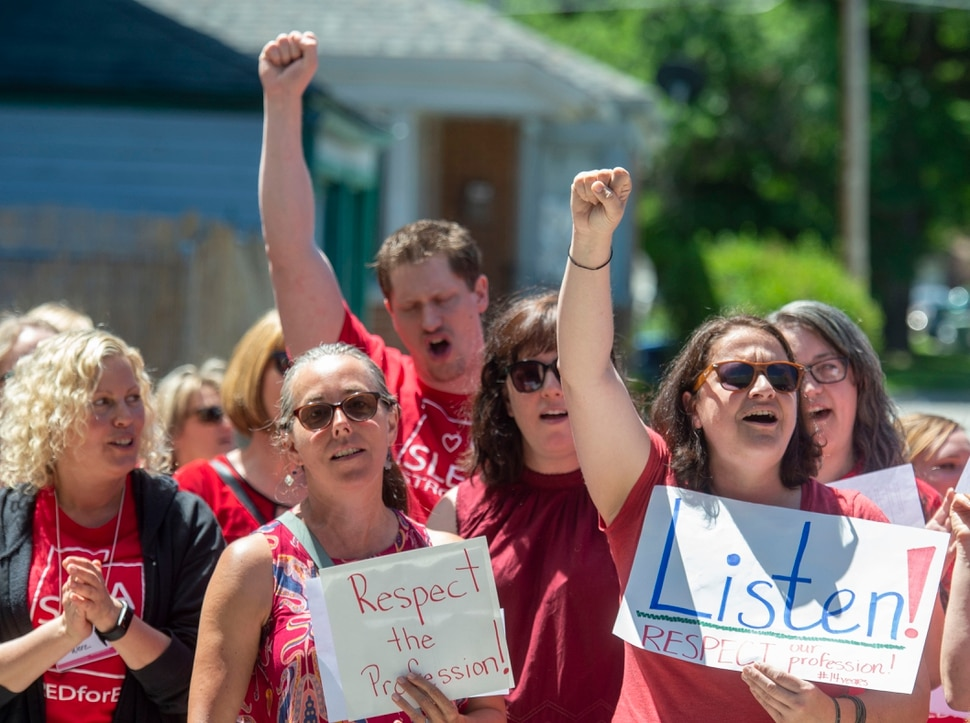 (Rick Egan | The Salt Lake Tribune) Teachers from the Salt Lake School District hold a rally at Innovations High School, Tuesday, June 18, 2019.