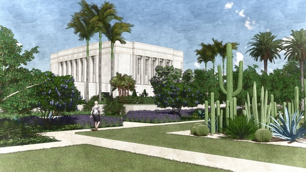 (Courtesy LDS Church) Rendering of a garden on the grounds of the Mesa Arizona Temple.