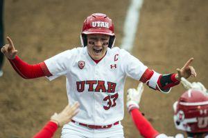 Chris Detrick  |  The Salt Lake TribuneUtah infielder Heather Bowen (37) celebrates hitting a two-run homerun during the NCAA softball regional game at Dumke Family Softball Stadium Thursday, May 18, 2017.