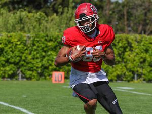 (Photo courtesy of University of Utah Athletics) Devaughn Vele, shown in practice during preseason camp in August. has been a nice surprise for Utah as a walk-on.