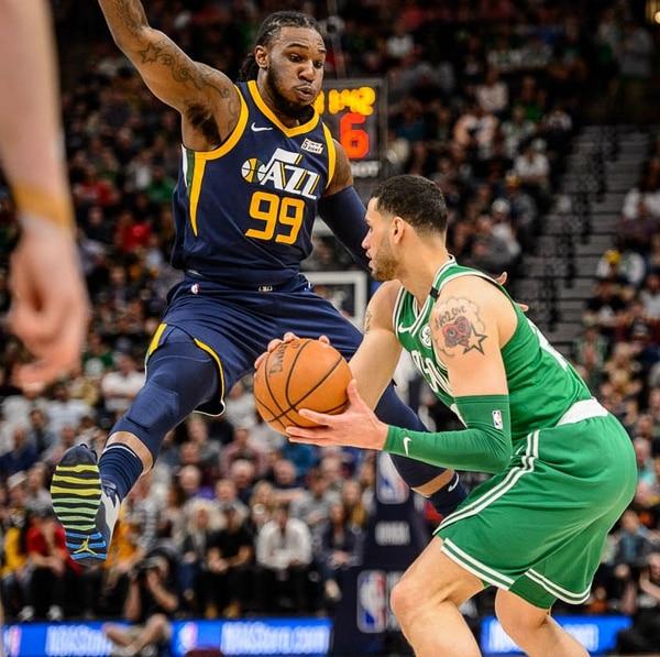 (Trent Nelson | The Salt Lake Tribune) Utah Jazz vs. Boston Celtics, NBA basketball in Salt Lake City, Wednesday March 28, 2018. Utah Jazz forward Jae Crowder (99) defending Boston Celtics center Greg Monroe (55).