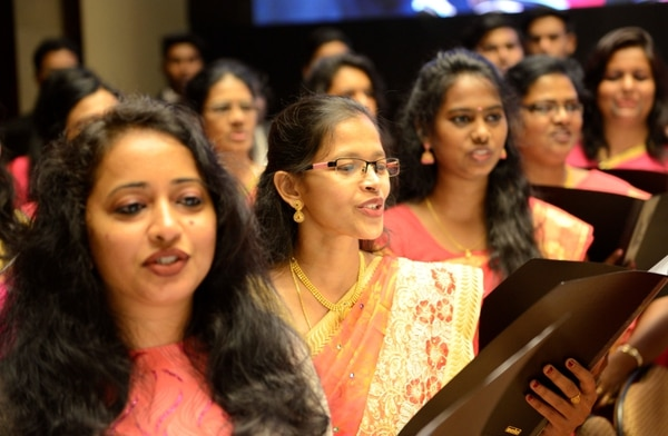 (Photo courtesy LDS Church) Bengaluru, India, Mormon choir members welcomed LDS Church President Russell M. Nelson and his entourage Thursday.
