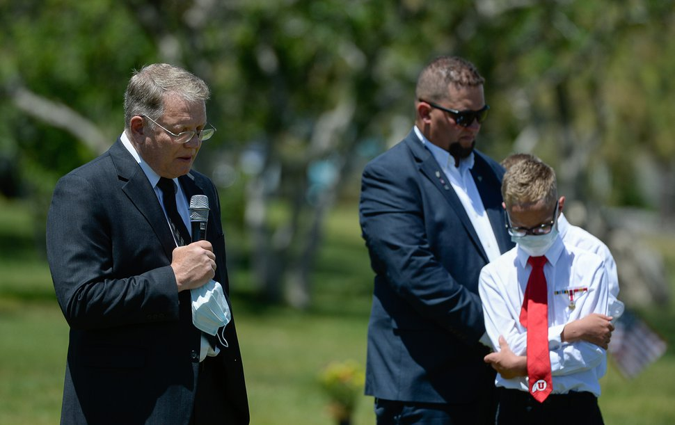 (Francisco Kjolseth   The Salt Lake Tribune ) Troy Stevens delivers the dedication during services for his father, Dallas Lynn Stevens, at the Utah Veterans Cemetery in Bluffdale on Wednesday, June 24, 2020.