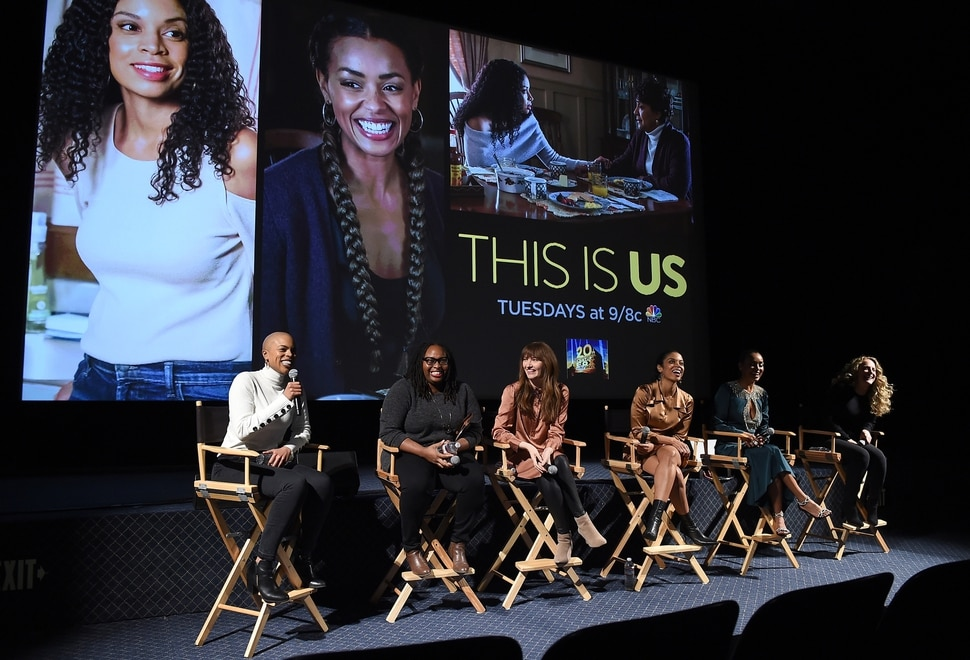 "(Photo courtesy Frank Micelotta/Twentieth Century Fox Television/PictureGroup) ""This Is Us"" writer Eboni Freeman, co-producer Kay Oyegun and executive producer Elizabeth Berger, stars Susan Kelechi Watson and Melanie Liburd and director Anne Fletcher."