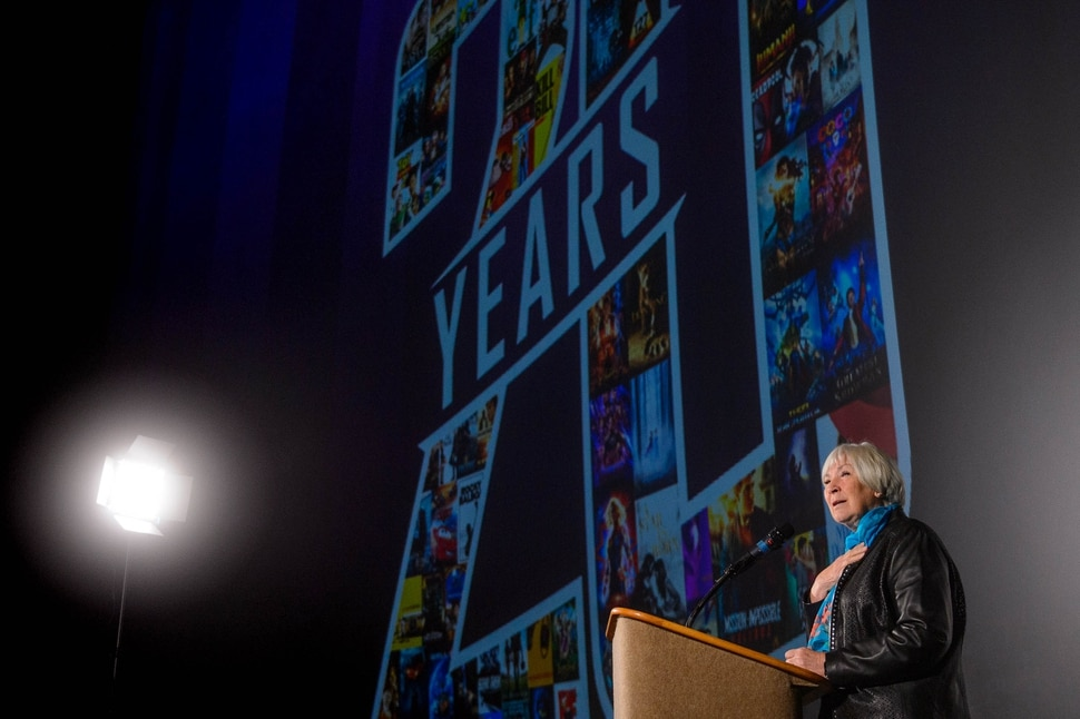 (Trent Nelson | The Salt Lake Tribune) Gail Miller speaks as Megaplex Theatres celebrates its 20th anniversary at an event at The District location in South Jordan on Thursday Nov. 14, 2019.