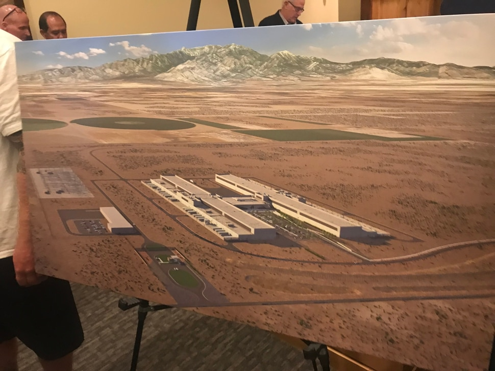 (Ben Wood | The Salt Lake Tribune) A rendering of the planned Facebook data center to be build in Eagle Mountain. The center was announced by Gov. Gary Herbert on Wednesday, May 30, 2018.