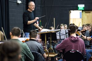 "(Chris Detrick  |  The Salt Lake Tribune) Barlow Bradford conducts members of the Utah Youth Orchestras & Ensembles perform ""The Apotheosis of Aristides,"" during a rehearsal at Utah Opera Saturday, January 13, 2018."