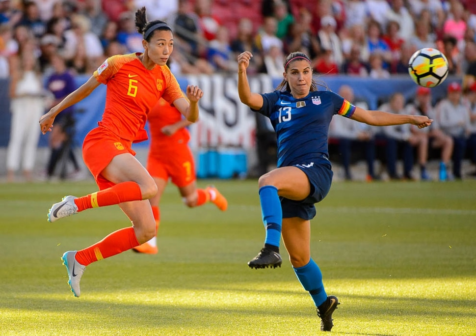 (Trent Nelson | The Salt Lake Tribune) China PR defender Lin Yuping and USA forward Alex Morgan during the international friendly match between China and the USA at Rio Tinto Stadium in Sandy, Utah, Thursday June 7, 2018.