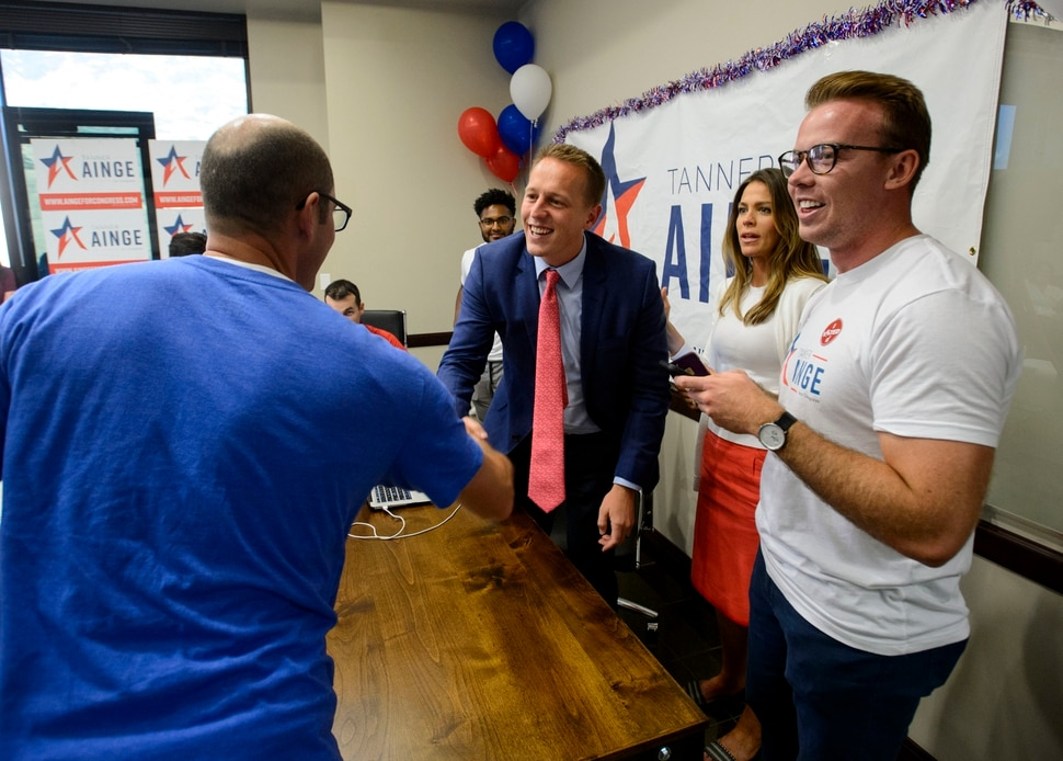 (Steve Griffin | The Salt Lake Tribune) 3rd Congressional District candidate Tanner Ainge shakes hands with Sen. Daniel Hemmert, R-Highland at his election night headquarters as he waits for results in the primary in Orem Tuesday August 15, 2017.