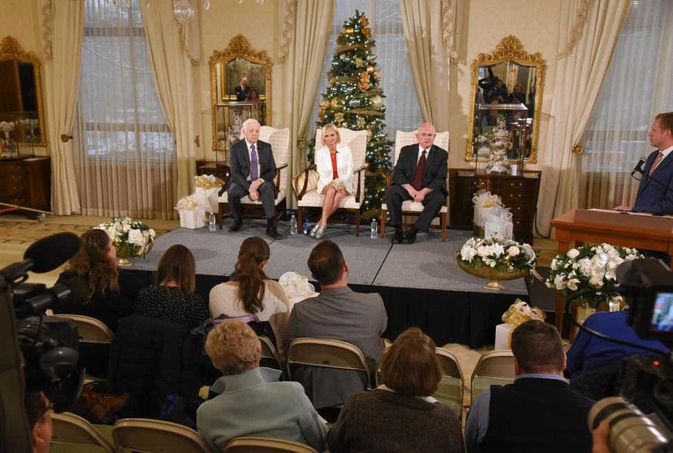 (Francisco Kjolseth | The Salt Lake Tribune) Kristin Chenoweth, the guest artists and narrator at The Tabernacle Choir's annual Christmas concert this year appears alongside President of the choir Ron Jarrett, left, and music director Mack Wilberg during a press conference at the Relief Society Building on Wed. Dec. 12, 2018.