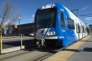 (Rick Egan | Tribune file photo) A TRAX train pulls up to a stop on 400 South in Salt Lake City on Tuesday, Jan. 5, 2021. The Utah Transit Authority is dropping proposal for a TRAX extension through the Point of the Mountain, and is proposing a bus rapid transit line instead.
