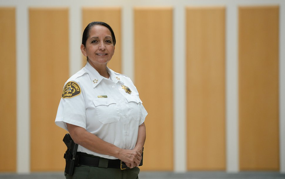 (Francisco Kjolseth | The Salt Lake Tribune) Rosie Rivera is the first woman in Utah to serve as any county's sheriff after being sworn in on Aug. 15, 2017.