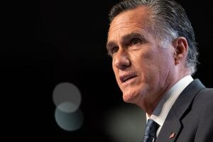 (Francisco Kjolseth | The Salt Lake Tribune) Sen. Mitt Romney at the Utah Republican Party's 2021 Organizing Convention at the Maverik Center in West Valley City on Saturday, May 1, 2021.