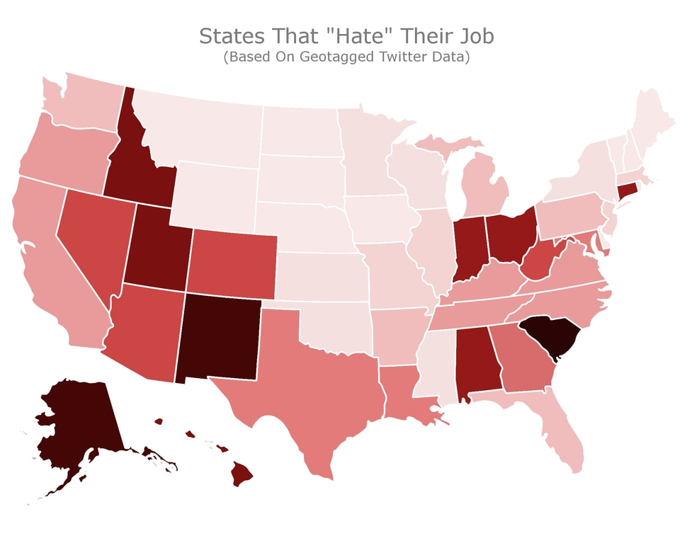 (Map courtesy Cultivated Culture) This map shows, from darker to lighter, the states where more people say they hate their jobs, based on geotagged Twitter data. Utah ranked sixth on the list of states where people hate their jobs, and second on the list of states where people love their jobs.