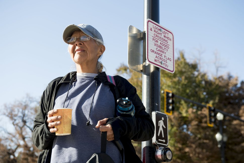 (Jeremy Harmon | The Salt Lake Tribune) Karen Haskie stands at a cross walk in downtown Salt Lake City on Thursday, Nov. 7, 2019.