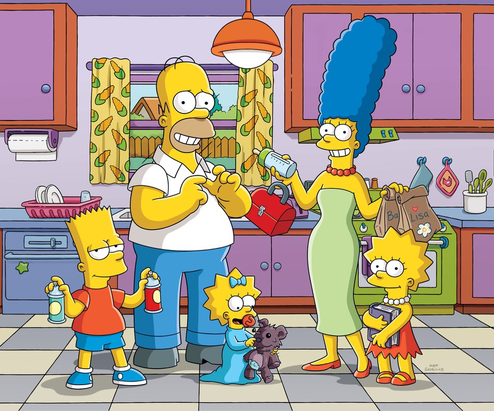 (Image courtesy of Fox Television) The Simpsons — from left: Bart, Homer, Maggie, Marge and Lisa — from the long-running animated series