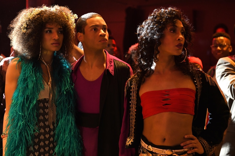 "(Photo: JoJo Whilden/FX) Indya Moore as Angel, Ryan Jamaal Swain as Damon and Mj Rodriguez as Blanca in ""Pose."""