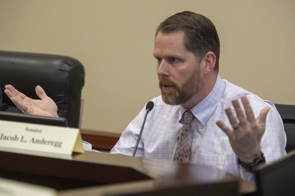 (Rick Egan | The Salt Lake Tribune) Sen. Jacob Anderegg makes a statement about SB119, a bill that would extend a ban on big-rig trucks on Legacy Parkway for 2 1/2 more years. The bill failed to make it out of the committee. Thursday, Feb. 7, 2019.