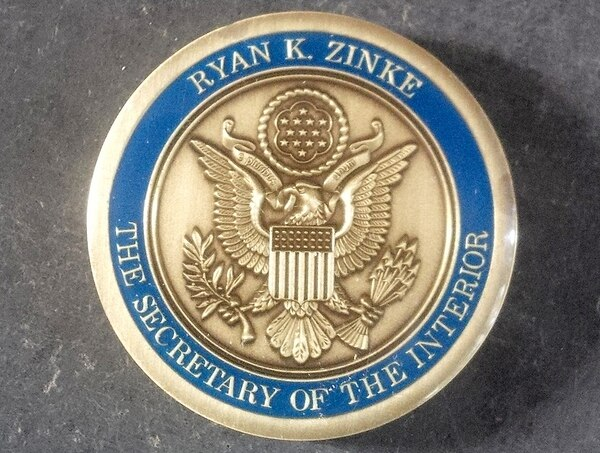 (Photo obtained by The Washington Post) Interior Secretary Ryan Zinke commissioned commemorative coins with his name on them to give to staff and visitors.