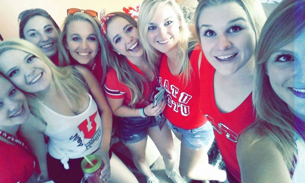 (Photo courtesy of Kennedy Stoner) MacKenzie Lueck, second from right, poses with other members of the University of Utah's Alpha Chi Omega sorority in this undated photo. Lueck and other members of the sorority would go to Utes football games and sit in the MUSS cheering section.