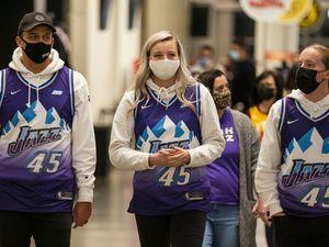 (Rick Egan   Tribune file photo) Jazz fans wear masks at Vivint Arena for NBA action between the Utah Jazz and the Dallas Mavericks, on Friday, Jan. 29, 2021.