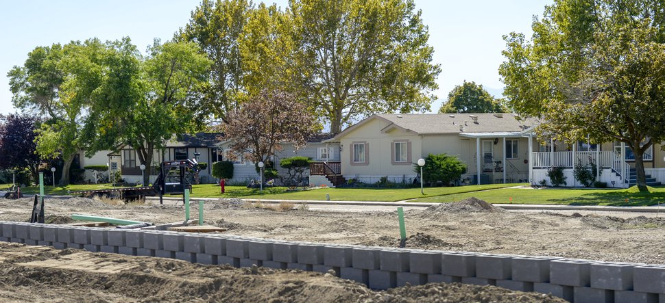 (Leah Hogsten | The Salt Lake Tribune) Construction is underway Sept. 25, 2019 at Investment Property Group, the new owner of Winchester Estates mobile home community. In September, IPG announced it will expand the 55-plus manufactured housing community by building an additional 40 homes, build a clubhouse and other amenties.