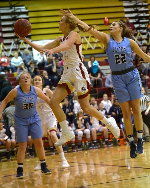 (Leah Hogsten | Tribune File Photo) Viewmont's Grace Johnson rises to the net. Layton High School defeated Viewmont High School girls' basketball team, 49-41, Tuesday, February 7, 2017 in Bountiful.