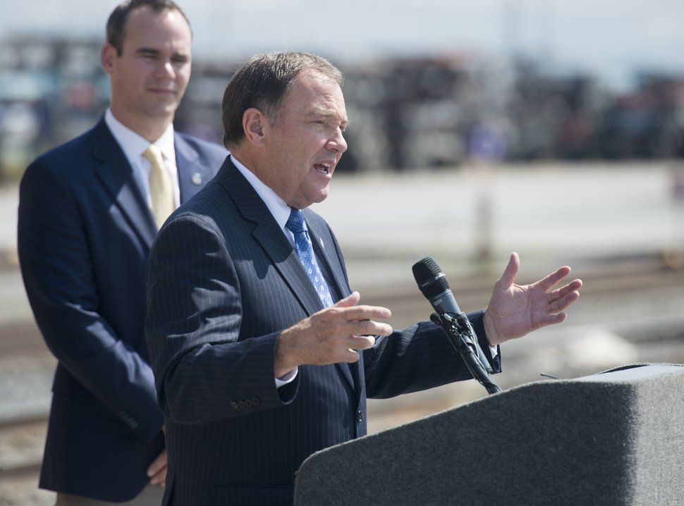 (Rick Egan | The Salt Lake Tribune) Gov. Gary Herbert talks about the world's largest steam locomotive that will be coming to Utah in May, to celebrate the golden spike's 150 year anniversary, at the Union Pacific Intermodal Facility, Thursday, Aug. 16, 2018.